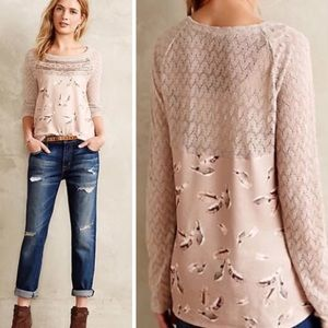 Anthropologie OS Aves Lace Trim Long Sleeve Top